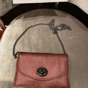 Coach Metallic Leather Wallet on Chain *Like-New*